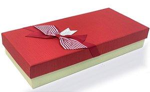 Caixa de Papel para Presente Tampa Vermelho com Laço Listrado - 29 cm x 14 x 5,5 cm - 1 Unidade - Rizzo Confeitaria