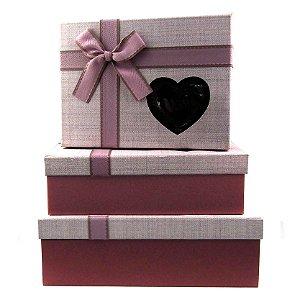 Conjunto Caixa de Papel para Presente Laço Rosa com Visor Coração - Kit 3 Unidades - Rizzo Confeitaria
