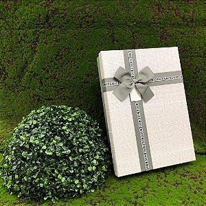 Caixa de Papel para Presente Tampa e Laço Cinza - 36 cm x 26 x 7 cm - 1 Unidade - Rizzo Confeitaria