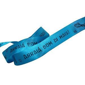 Fita de Cetim Azul Arraiá Bom Di Mais - 15mm - 10 metros - Progresso - Rizzo Confeitaria