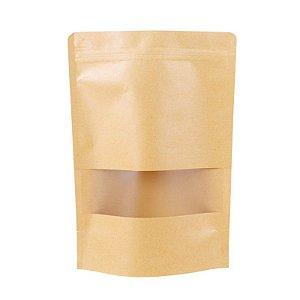 Saquinho Kraft com Visor e Fecho Hermético - 10x15cm - 50 unidades - Rizzo Embalagens
