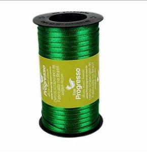 Fita de Cetim Carretel Progresso 4mm nº00 - 100m Cor 217 Verde Bandeira - 01 unidade - Rizzo Embalagens