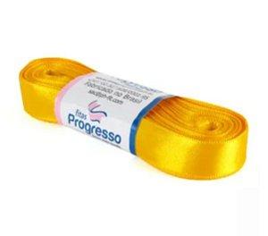 Fita de Cetim Progresso 15mm nº3 - 10m Cor 038 Amarelo Ouro - 01 unidade - Rizzo Embalagens