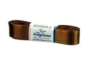 Fita de Cetim Progresso 22mm nº5 - 10m Cor 043 Marrom Dourado - 01 unidade - Rizzo Embalagens
