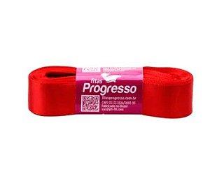 Fita de Cetim Progresso 22mm nº5 - 10m Cor 1354 Vermelho Tomate - 01 unidade - Rizzo Embalagens
