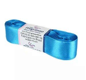 Fita de Cetim Progresso 22mm nº5 - 10m Cor 213 Azul Turquesa - 01 unidade - Rizzo Embalagens