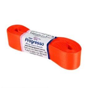 Fita de Cetim Progresso 22mm nº5 - 10m Cor 278 Laranja Cítrico - 01 unidade - Rizzo Embalagens