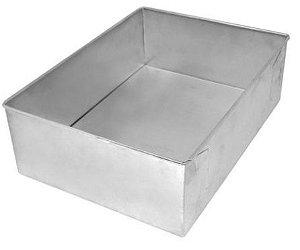 Forma de Aluminio Retangular  - 30x22x10cm - Ref:8003 - Macedo - Rizzo Confeitaria