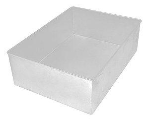 Forma de Aluminio Retangular - 40x30x10cm - Ref:8001 - Macedo - Rizzo Confeitaria