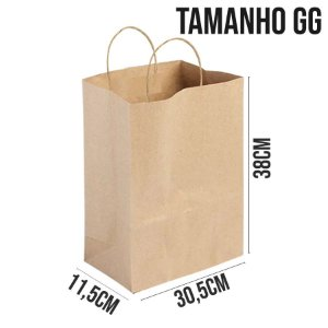 Sacola de Papel Kraft - Tamanho GG 30,5x11,5x38cm - Ref. 0084 - Rizzo Embalagens
