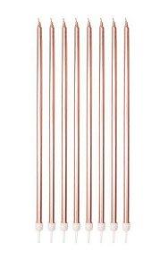 Vela Palito - Rosê Gold - 8 unidades - Silver Festas - Rizzo Confeitaria