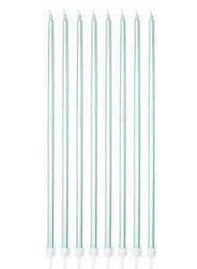 Vela Palito - Azul Tifanny - 8 unidades - Silver Festas - Rizzo Confeitaria