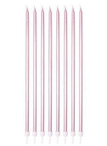 Vela Palito -Rosa - 8 unidades - Silver Festas - Rizzo Confeitaria