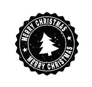 Carimbo Artesanal Merry Christmas Preto e Branco - G - 6,0x6,0cm - Cod.RI-049- Rizzo Confeitaria