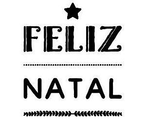 Carimbo Artesanal Feliz Natal c/Estrela - M - 6,0x7,0cm - Cod.RI-043 - Rizzo Confeitaria