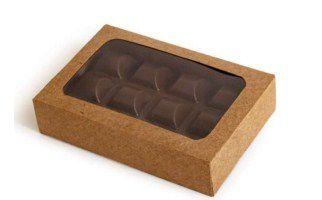 Caixa Envelope Tablete - Kraft - 12 Gomos -10 unidades - Crystal - Rizzo Confeitaria