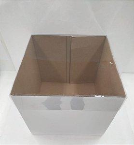 Caixa com Tampa Transparente - Branco - 28x28x20cm - 1 unidade - Decora Doces - Rizzo Confeitaria