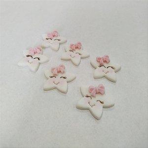 Confeitos Comestíveis Estrela Branca com Laço Rosa - Flores e Encantos de Açúcar - Rizzo Confeitaria