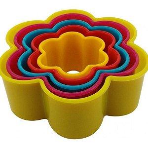 Cortadores Plastico Flor com 5 un. SilverChef - Rizzo Confeitaria