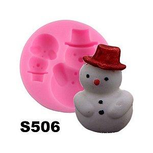 Molde de silicone Boneco de Neve S506 Molds Planet Rizzo Confeitaria