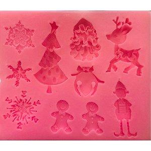 Molde de silicone Natal Miniaturas N18 Molds Planet Rizzo Confeitaria