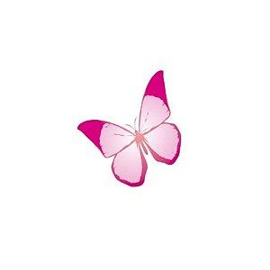 Aplique Borboleta Papel Arroz Rosa Mod.2 - Rizzo Confeitaria