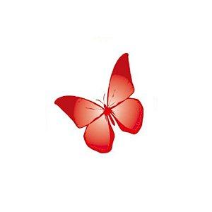 Aplique Borboleta Papel Arroz Vermelha Mod.2 - Rizzo Confeitaria