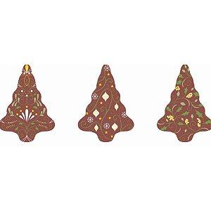 Blister Decorado com Transfer para Chocolate Arvore de Natal 3,5cm x 5,5cm BLN0076 Stalden Rizzo Confeitaria
