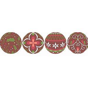 Blister Decorado com Transfer para Chocolate Bola de Natal 3cm BLN0074 Stalden Rizzo Confeitaria