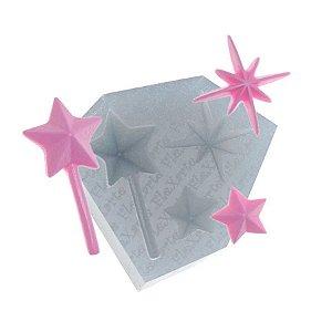 Molde de Silicone Varinha Mágica + Estrelas Ref. 219 Flexarte Rizzo Confeitaria