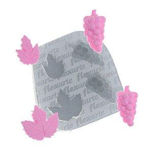 Molde de Silicone Mini uvas com folhas Ref. 397 Flexarte Rizzo Confeitaria