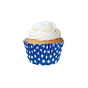 Forminha CupCake Azul com Bolinha Branca com 45 un. Cod. 6734 Mago