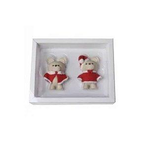 Caixa Urso P 2 cav. Branca com 5 un. Crystal Rizzo Confeitaria