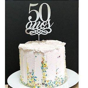 Topo de Bolo 50 Anos Glitter Prata Sonho Fino Rizzo Confeitaria