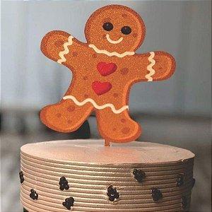Topo de Bolo Biscoito Natal Glitter Sonho Fino Rizzo Confeitaria