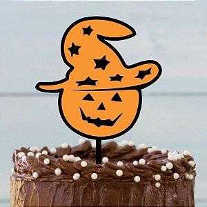 Topo de Bolo Cabeça de Abóbora Halloween Glitter Sonho Fino Rizzo Confeitaria