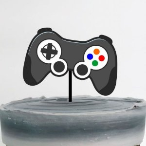 Topo de Bolo Controle Game Glitter Sonho Fino Rizzo Confeitaria