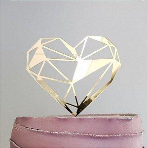 Topo de Bolo Coração Geométrico Espelhado Dourado Sonho Fino Rizzo Confeitaria