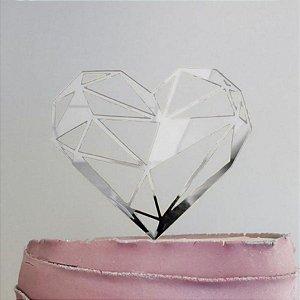 Topo de Bolo Coração Geométrico Espelhado Prata Sonho Fino Rizzo Confeitaria