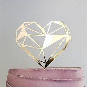 Topo de Bolo Coração Geométrico Glitter Dourado Sonho Fino Rizzo Confeitaria