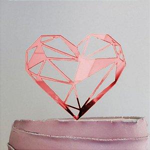 Topo de Bolo Coração Geométrico Glitter Vermelho Sonho Fino Rizzo Confeitaria