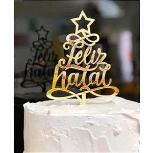 Topo de Bolo Feliz Natal Metalizado Dourado Sonho Fino Rizzo Confeitaria
