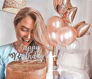 Topo de Bolo Happy Birthday Espelhado Prata Sonho Fino Rizzo Confeitaria