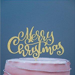 Topo de Bolo Natal Merry Christmas Glitter Dourado Sonho Fino Rizzo Confeitaria