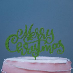 Topo de Bolo Natal Merry Christmas Glitter Verde Sonho Fino Rizzo Confeitaria