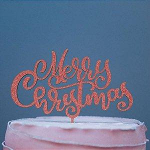 Topo de Bolo Natal Merry Christmas Glitter Vermelho Sonho Fino Rizzo Confeitaria