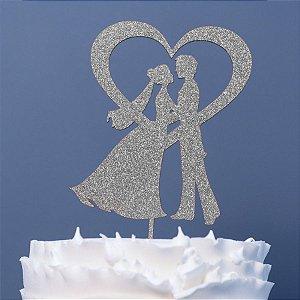 Topo de Bolo Noivos Coração Glitter Prata Sonho Fino Rizzo Confeitaria
