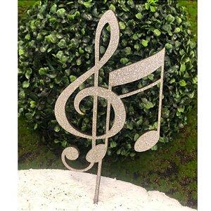 Topo de Bolo Nota Musical Glitter Prata Sonho Fino Rizzo Confeitaria