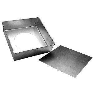Forma Quadrada  Fundo falso de alumínio - 1 un - 25x10 cm - GoldPan Formas
