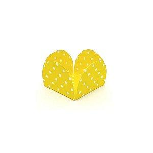 Forminhas para Doces 4 Pétalas Poá Amarelo e Branco 50 unidades NC Toys